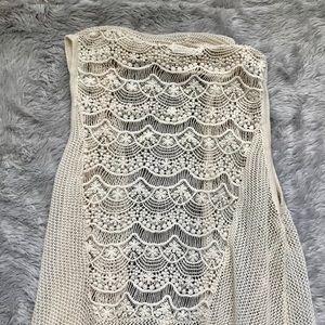 NWOT Boho Crochet-Style Vest, BLU PEPPER Brand
